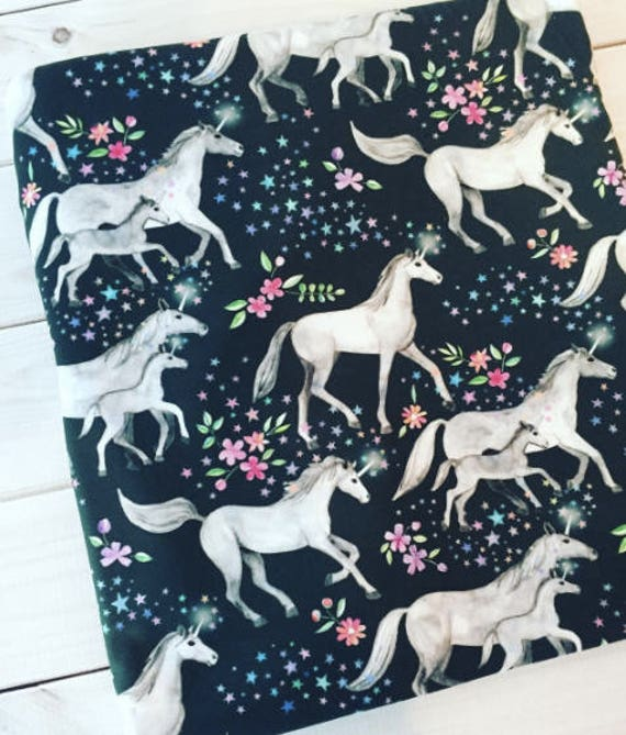 Unicorns with stars and flowers jersey knit fabric by the for Horse fabric for kids