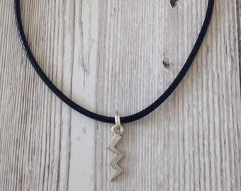 SALE Lightning bolt charm necklace, alternative necklace, weather jewellery, black necklace, Silver tone charm, gift, birthday,