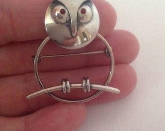 Owl Pin, Sterling Owl Pin, Beau Sterling