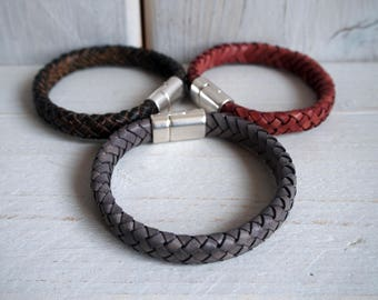 Mens Leather Bracelet, Braided Bracelet, Leather bracelets for men, Husband Gift, Father's Day, Anniversary Gift, Gift for him