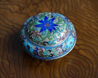 Round Vintage Mosaic Jewelry box/Boîte ronde  à bijoux en mosaique et énamel