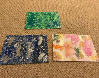 Three 9x12 Colorful Abstract Paintings