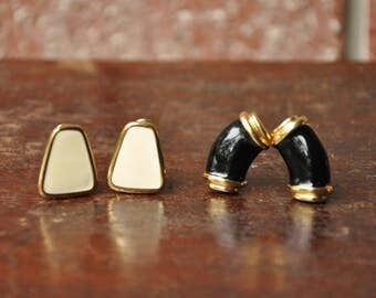 2 Pairs Monet Vintage Clip On Earrings, Lot of 4 Clipon Gold Toned Off White Cream + Black Enamel Jewelry Accessories
