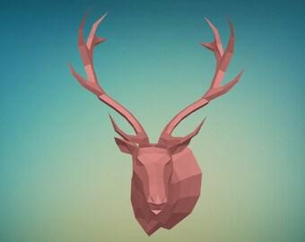 DIY PAPER SCULPTURES  deer_head trophy pdf file digital product papercraft model template