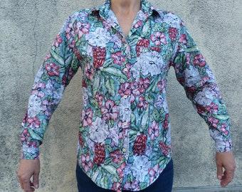 flowery blouse size 40/42 vintage 90 s CACHAREL FRANCE PARIS