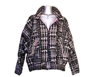 Beaded/ Embroidered Lizard Hunab Ku Black & White Vintage Guatemalan Jacket