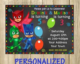 PJ Masks invitation, PJ Masks - Invitation, Birthday Invite, PERSONALIZED, Digital File