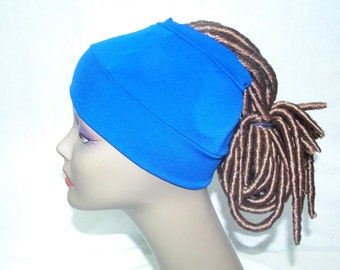 Royal blue and black ponytail cap,