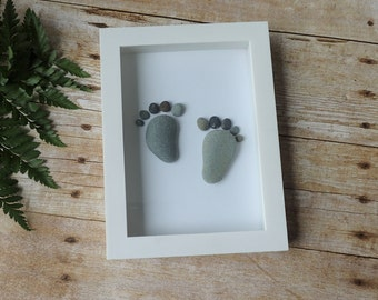 Baby feet pebble art / Baby shower / Baby gift / Nursery decor / Nursery wall art / Nursery art / New baby gift / Pebble picture
