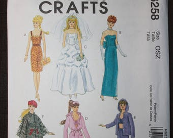 McCalls 6258  Barbie Fashion Doll Clothes  11 1/2in