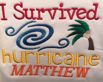I survived hurricane Matthew embroidered t-shirt