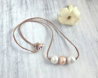 White and pink pearl necklace with puka shell clasp - handmade in Hawaii