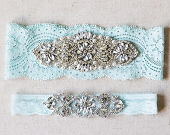 SALE - something blue Wedding Garter Set vintage rhinestones pearl lace rhinestone