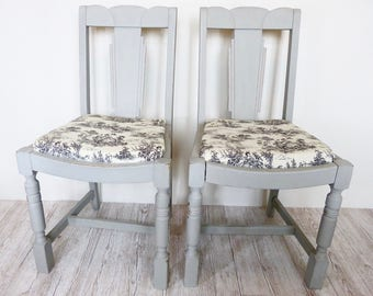 SALE Émilie   Pair Of Vintage Shabby Chic Dining Chairs | Grey | Toile | By