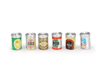 Miniature Beer Cans, 6 Cans