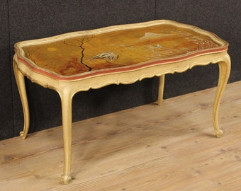Venetian Lacquered Gilded And Hand Painted Coffee Table