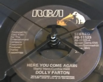 Dolly Parton 45 Record Clock - Here You Come Again