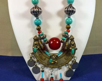 Exotic Ethnic Tribal Bib Necklace, Turquoise & Copal Bead Focal