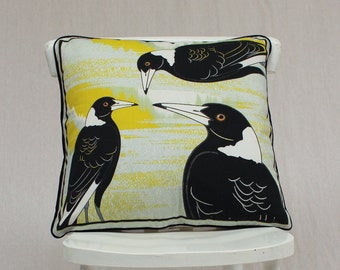 Sale - 3 Magpies Cushion Cover or pillow cover 100% Heavy Cotton 50cm by 50cm