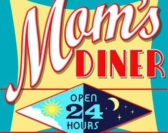 Vintage Metal Sign, Retro, Shabby-Chic, Wall Plaque, Kitchen, Mom's Diner, Mum's