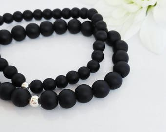 Matte Onyx Beaded Bracelet with Silver Ball Bead