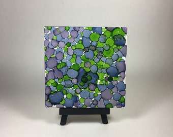 Alcohol Ink Tile - Blue and Green