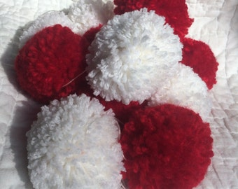 Red and White Pom Pom Garland