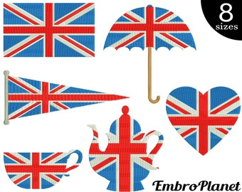 UK flag objects - Designs for Embroidery Machine Instant Download Digital File Graphic Stitch 4x4 5x7 inch hoop flag umbrella heart tea 557e