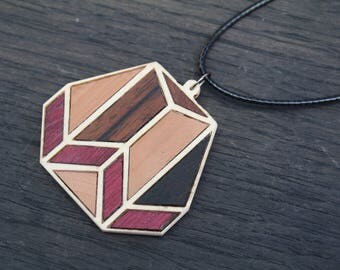 Wood Necklace, Wooden Necklace, Geometric Necklace, Statement Necklace, Salvaged Wood Necklace, Pendant necklace, Long Necklace