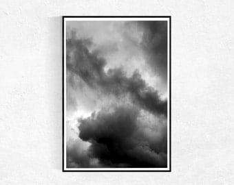 Clouds Print, Black And White, Scandinavian Print, Abstract Art Print, Clouds Poster, Large Wall Art, Black And White, Printable Art