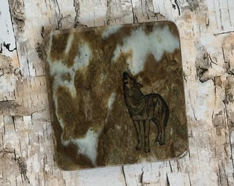 Natural Stone Coaster - Howling Wolf