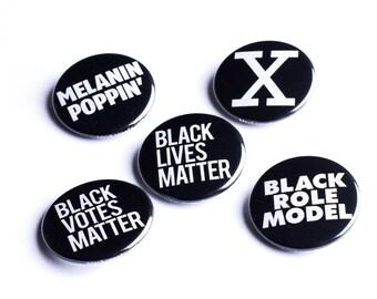 Black Lives Matter, Melanin Poppin, Malcolm X, Black Role Model Button, Badge 1.25 inch | Black Pride