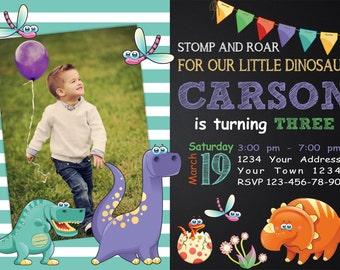 Dinosaur Birthday Invitation. Dinosaur Theme. Boys Birthday Invitation. Dinosaur Photo Invitation. Chalkboard Dinosaur Party Invite.