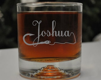 Personalized Fishing Hook Glass, SHIPS FAST, Etched Rocks Glasses, Bourbon Whiskey Scotch Glasses, Fisherman Glass, Old Fashioned Glass