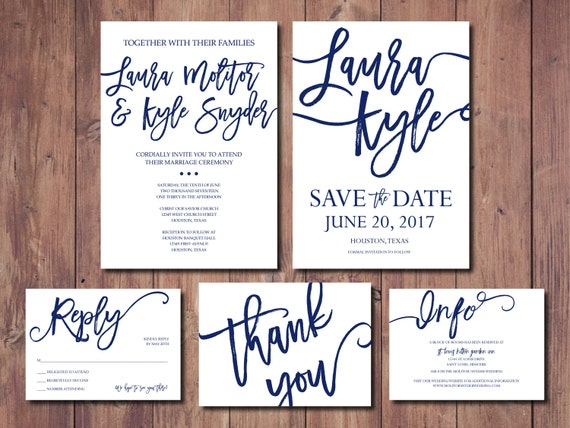 Navy wedding invitation suite simple wedding invitation for Costco wedding invitations uk