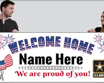 Welcome home Banner - Flag -All Branches of service - Military
