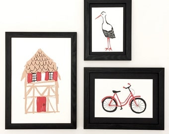 Illustration Alsatian House, half-timbered, Stork, bike, red bicycle
