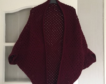FREE SHIPPING Burgundy Granny Square Cardigan Sweater Shrug Red Vegan Friendly Boho Hippie Festival