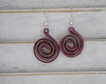 Hand-tooled Wire Spiral Earrings