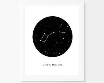 Little dipper poster, Big Dipper, Astronomy, Solar System Poster, Boys Art, Astrology Prints, URSA MINOR, Constellation, space print, stars