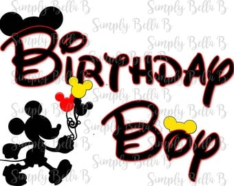 Birthday Boy Mickey Mouse INSTANT DOWNLOAD Printable Digital Iron-On Transfer Design - DIY
