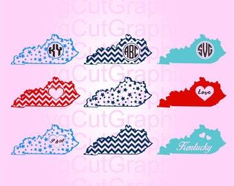 Kentucky SVG Files,  Svg Monogram, SVG Cutting Files, Svg Files for Cricut,  Svg Monogram Frames, Silhouette SVG Files,  Cricut Svg Files