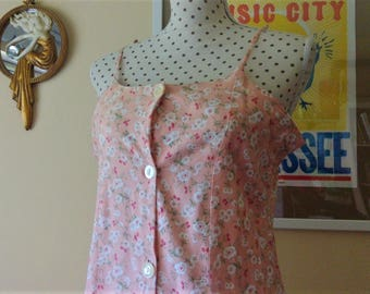 Summer dress grunge / / Vintage decade 1990 / / suspenders / / stamped flowers / / salmon / / New Moves