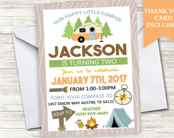 Happy Camper Invitation Invite Birthday Camping Camp Party Kids 5x7 Digital Personalized