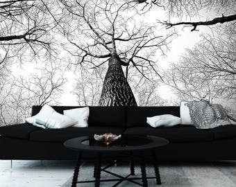 Monochrome Branches Mural | Adhesive wall mural | adhesive wallpaper | removable wallpaper | removable wall mural | wallpaper mural