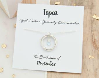 Topaz Birthstone Necklace, November Birthstone Necklace, Birthday Gift For Her, Topaz Birthstone Jewelry, November Birthday Jewellery