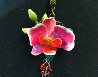 Pink white Orchid and crystals pendant necklace