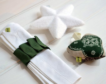 Linen towel, towel, Washcloths, serviette ring, napkin, white towel, combines with white tablecloth Green Ribbon
