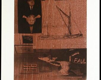 Stier, 1985. Mixed media print by Albert OEHLEN