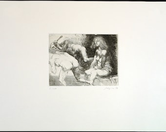 "Art from the GDR. ""Delila"", 1977. Etching by Volker STELZMANN"